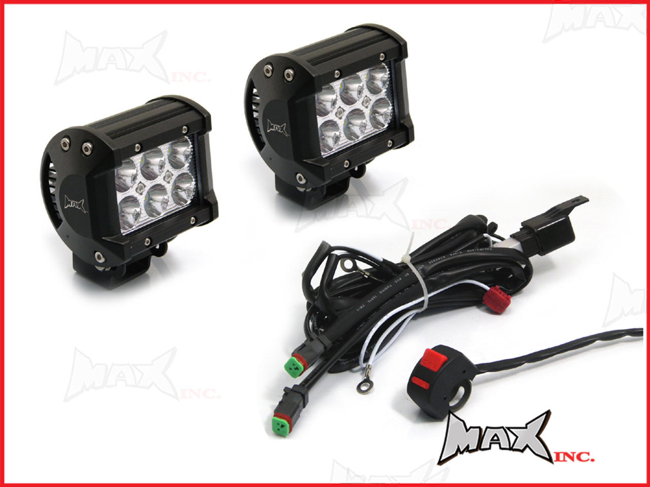 Spotlight Universal Wiring Harness Simple Schema 10 Pin Connector Motorcycle 18w Cree Led Spot Driving Lights Complete Hyundai