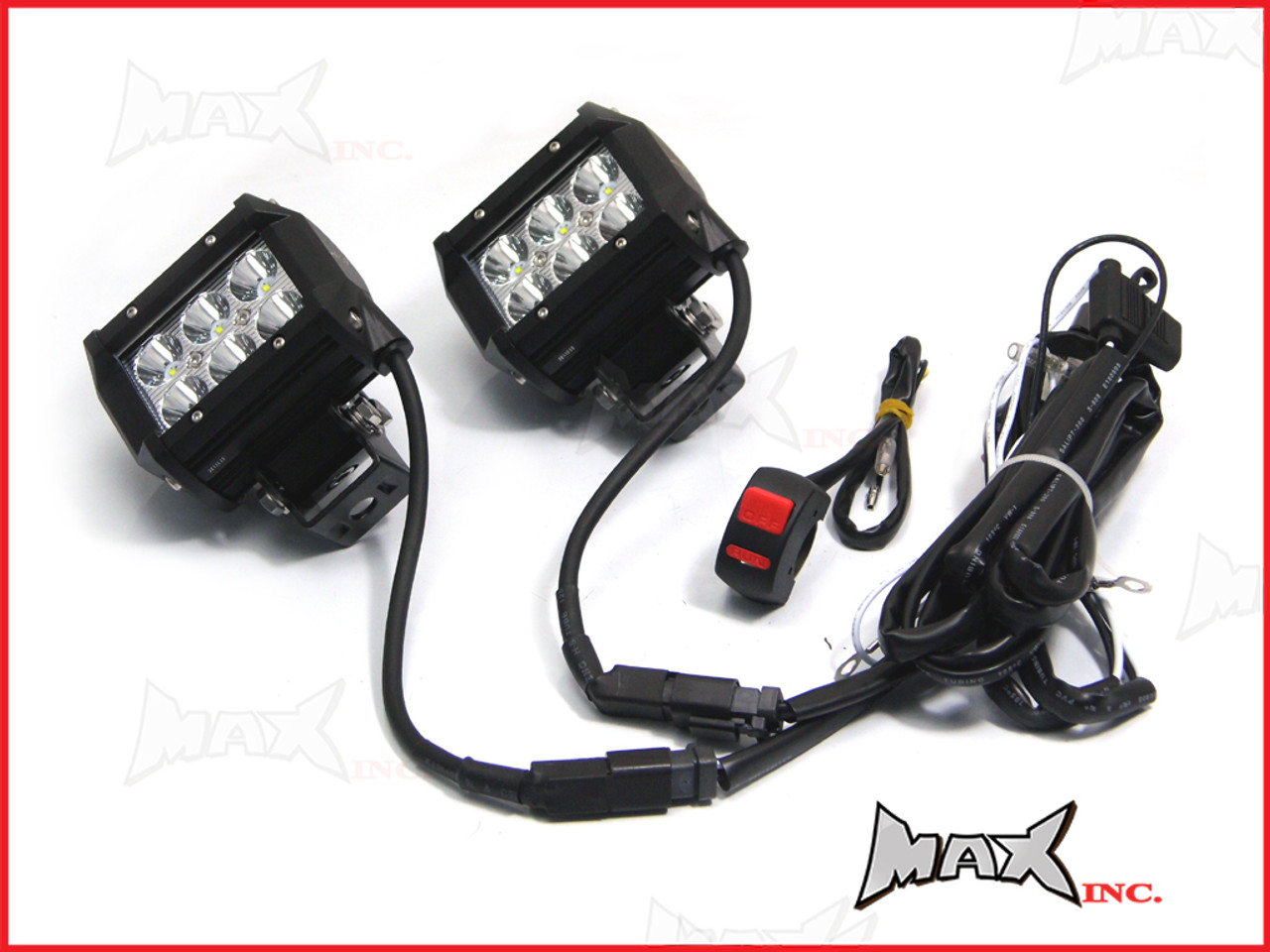 Motorcycle Universal 18w Cree Led Spot Driving Lights Complete Wiring Harness Connector Plugs Kit Plug N
