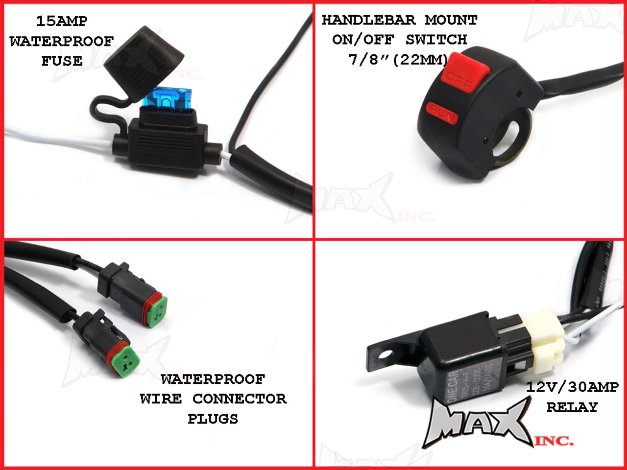 motorcycle universal 18w cree led spot / driving lights + complete wiring  kit - plug n