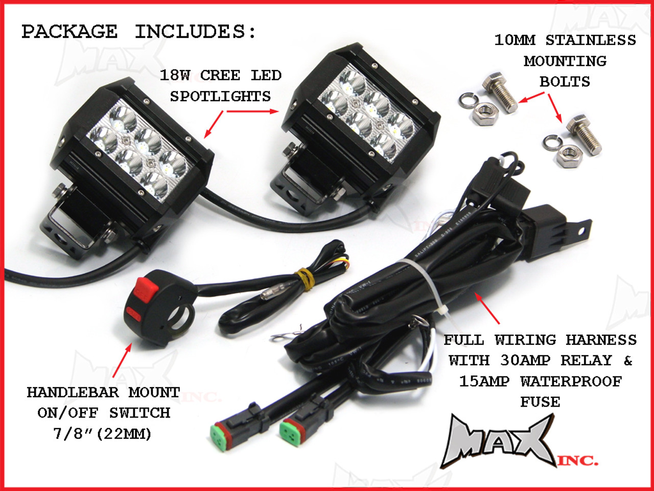 Cree Led Wiring Diagrams 88light 3 Watt Dimmable Puck Light Motorcycle Universal 18w Spot Driving Lights Complete Bulbs