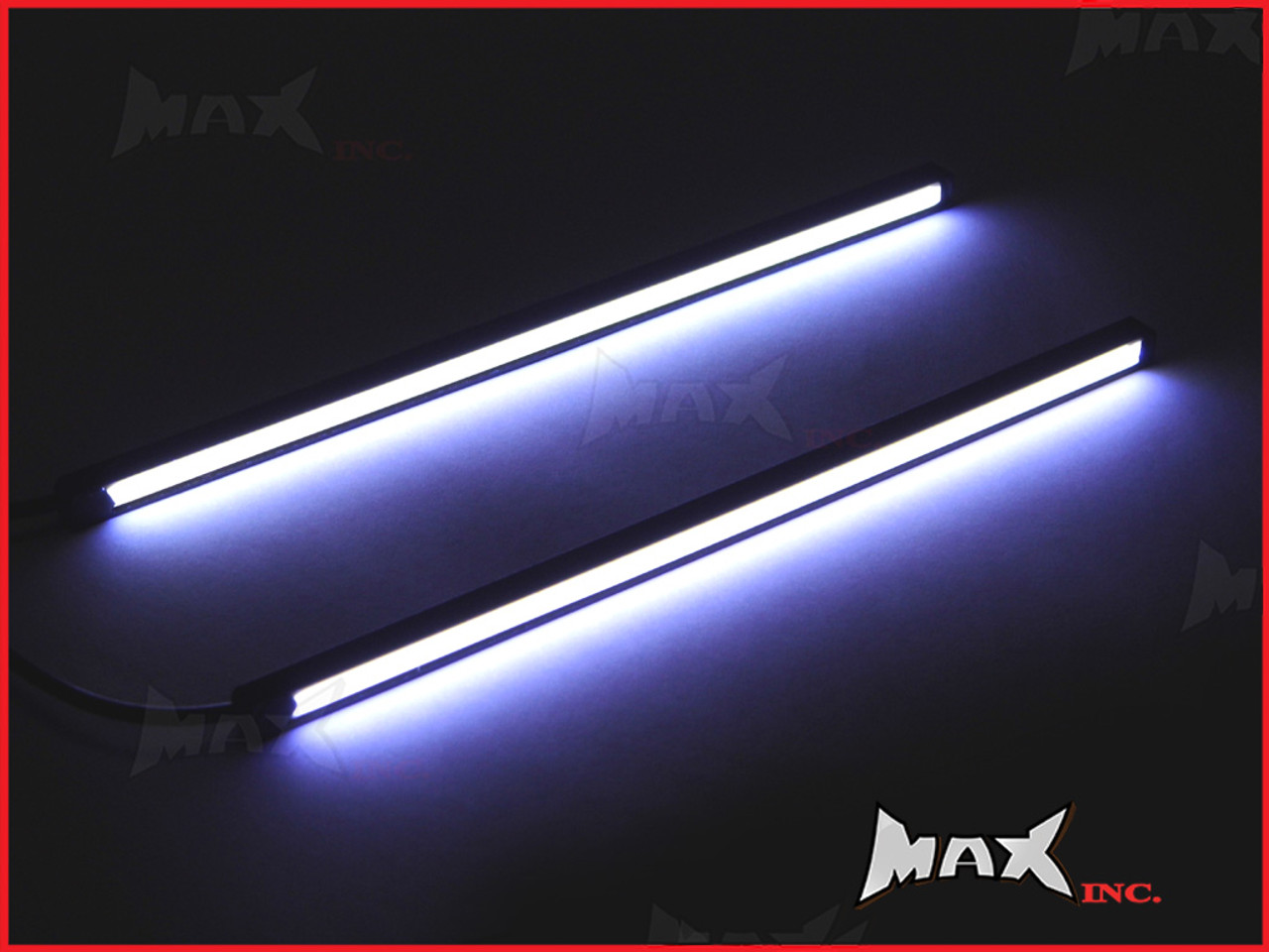 8 Inch Universal Slim COB LED White Daytime Running LIghts - Black Aluminium Housing