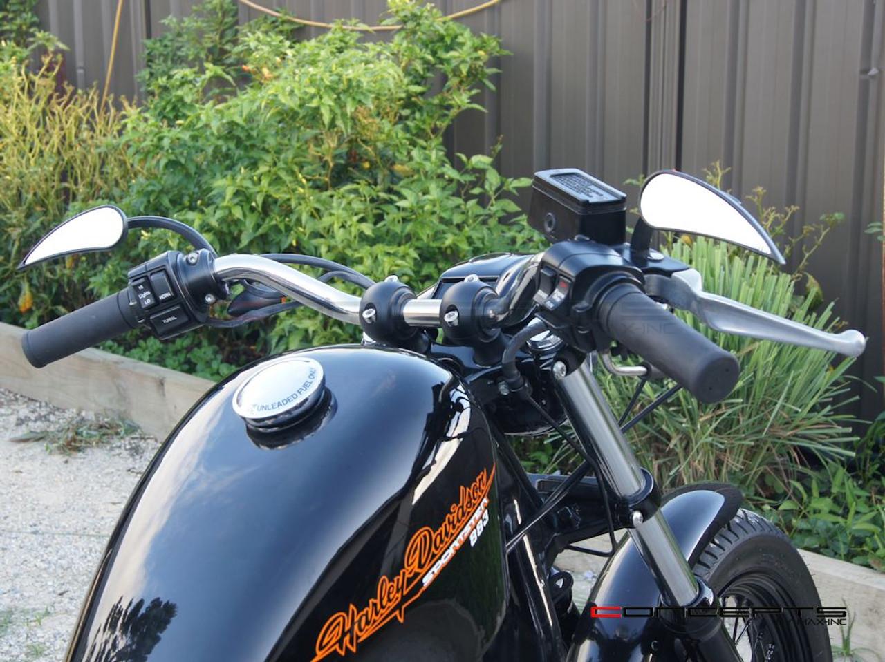 """Matte Black Billet Aluminium Old School Harley Davidson Cafe Racer Risers - 1-1/4"""""""