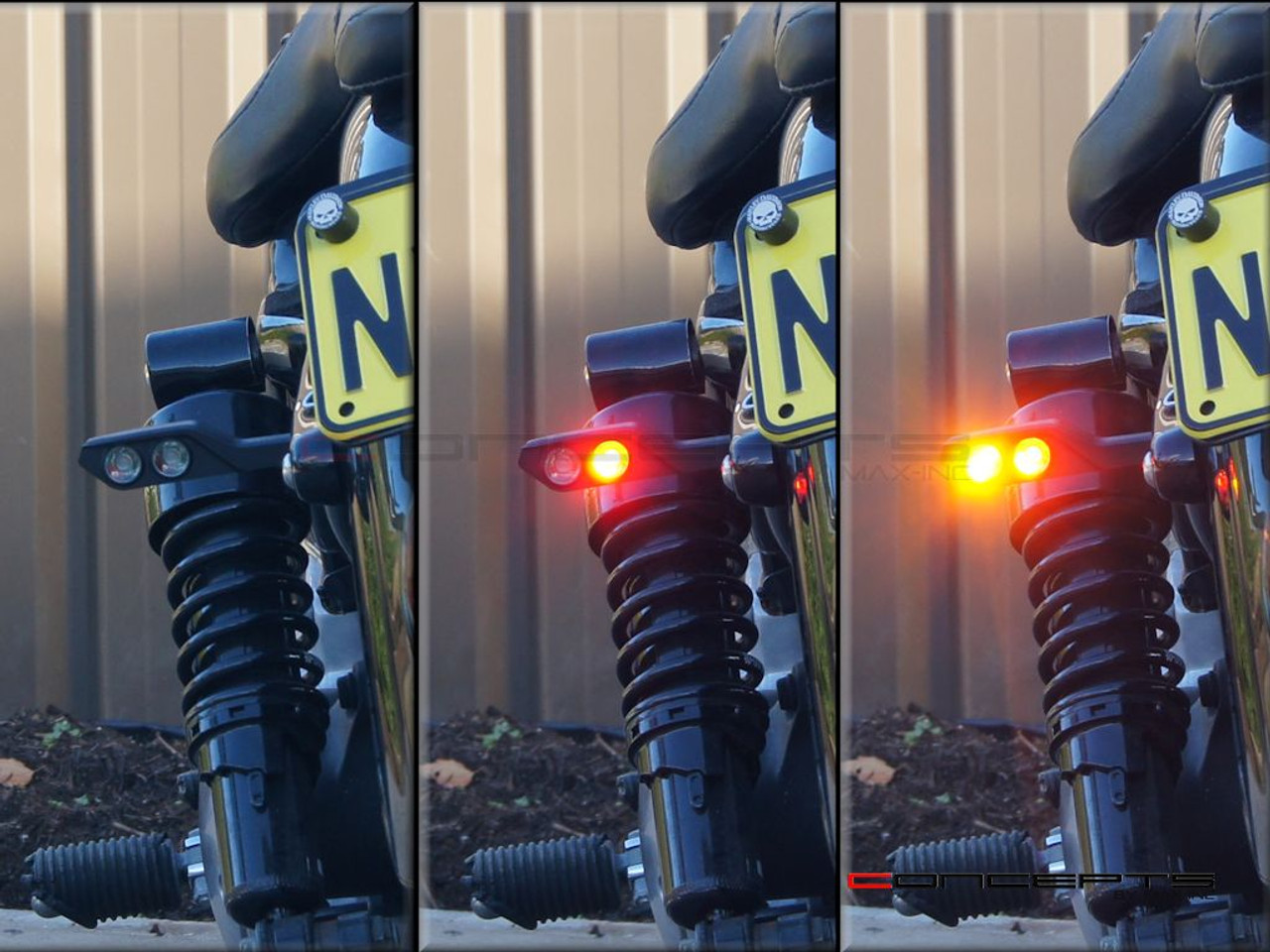 Black CNC Machined Aluminium Integrated LED Stop / Tail Lights + Turn Signals