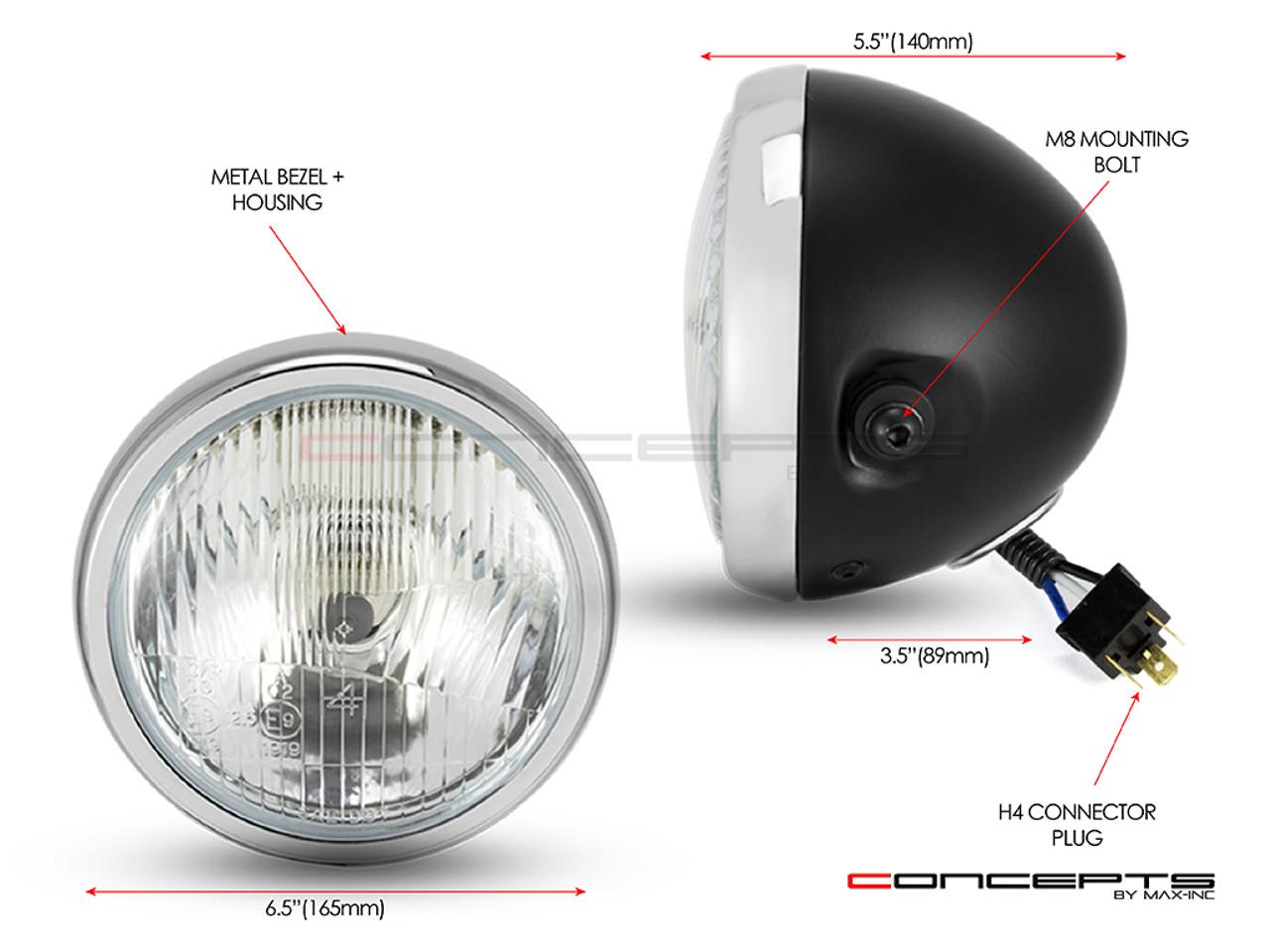 "6"" Matte Black + Chrome Universal Metal Classic Headlight"