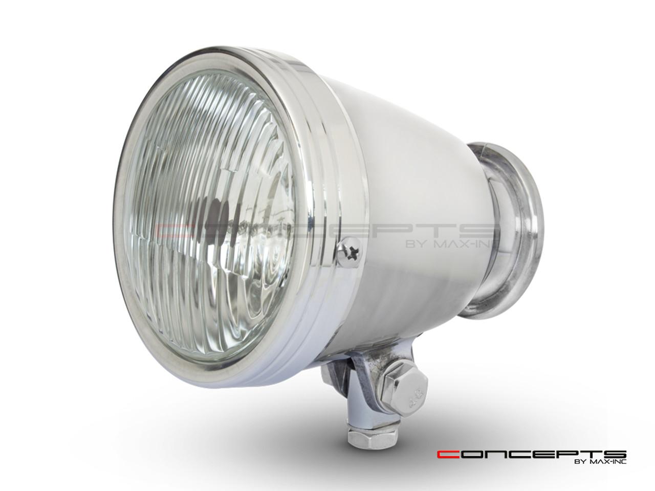"4.5"" Polished Alloy Bottom Mount Vintage Style Universal Headlight"