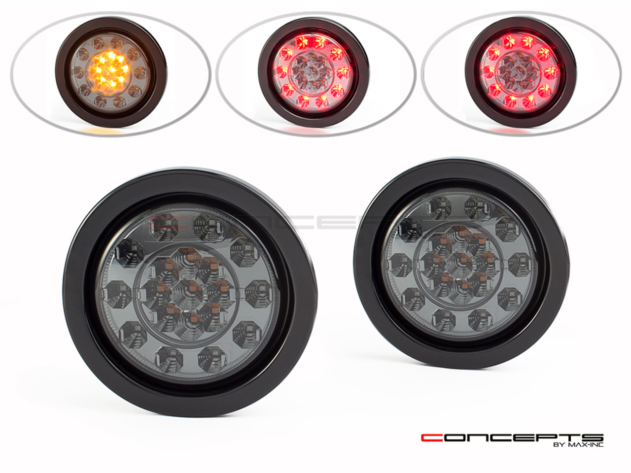 """4"""" Universal Flush Mount Integrated LED Stop Tail Light + Turn Signals - Smoked Lens"""