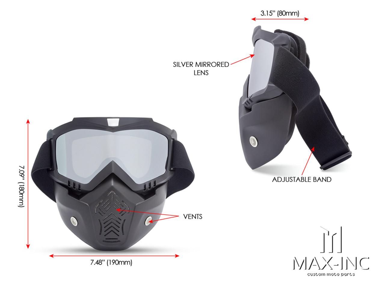 Open Face Helmet Bikers Full Face Mask / Goggles - Sliver Lens
