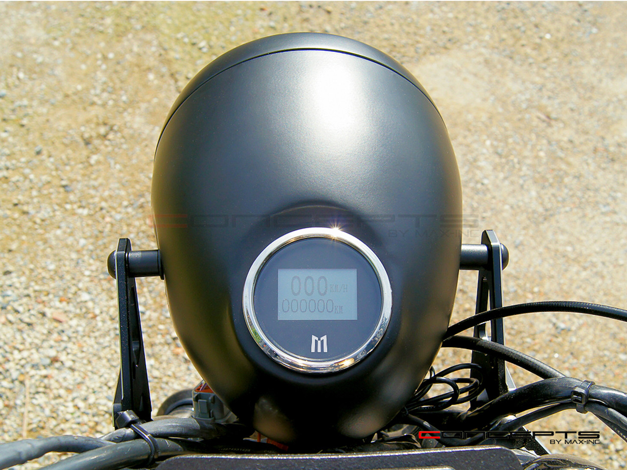 """5.75"""" Vintage Style Black Metal Headlight + Integrated Digital GPS Speedometer"""