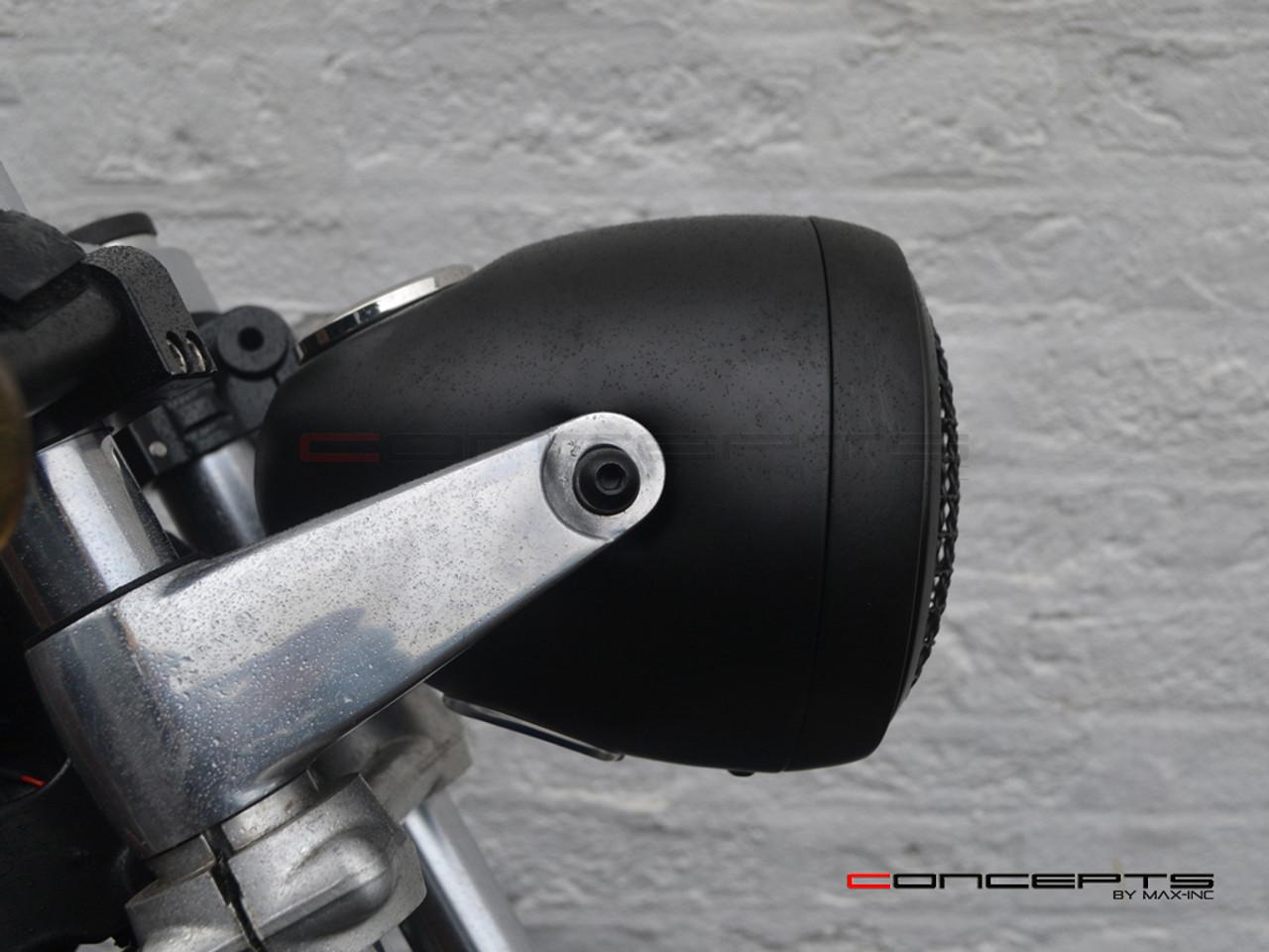 "5.75"" Vintage Style Black + Mesh Metal Headlight + Integrated Digital GPS Speedometer"