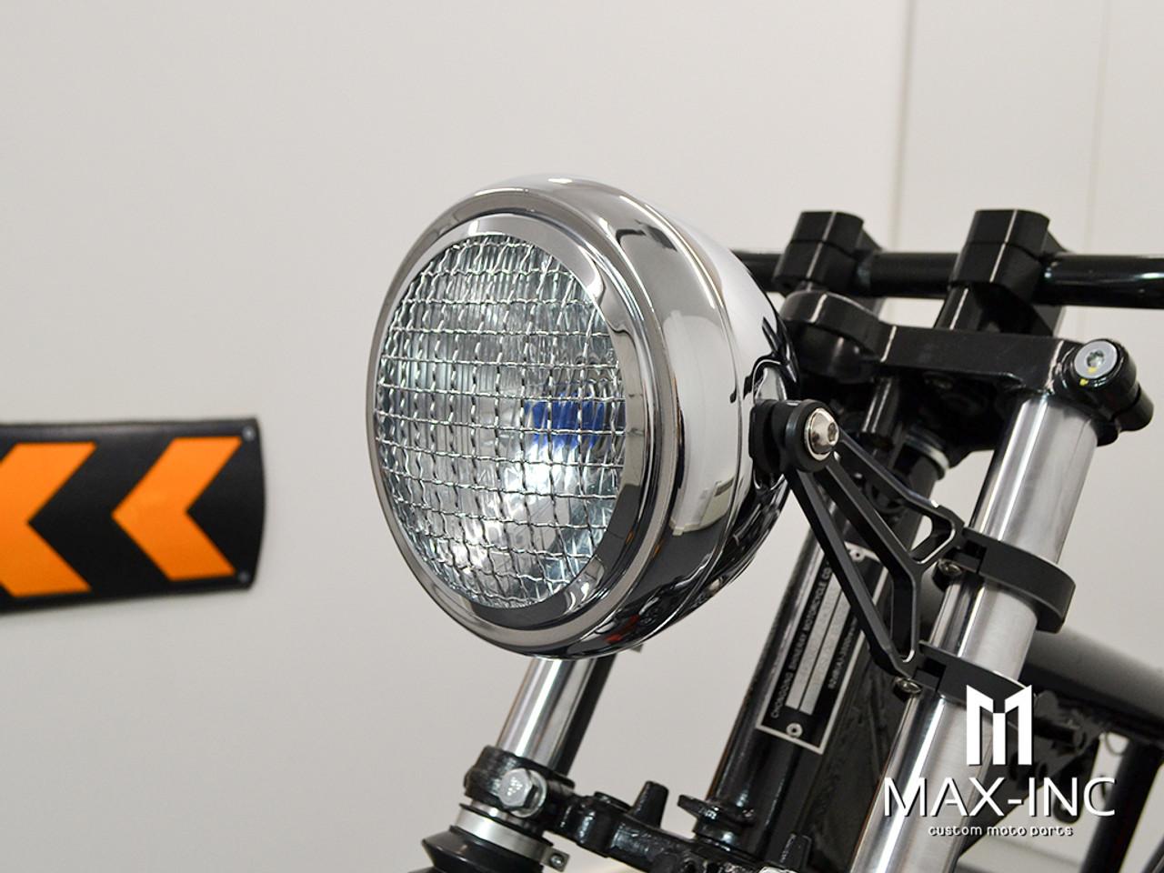 "6"" Chrome + Mesh Grill Metal Classic Headlight - Emarked"