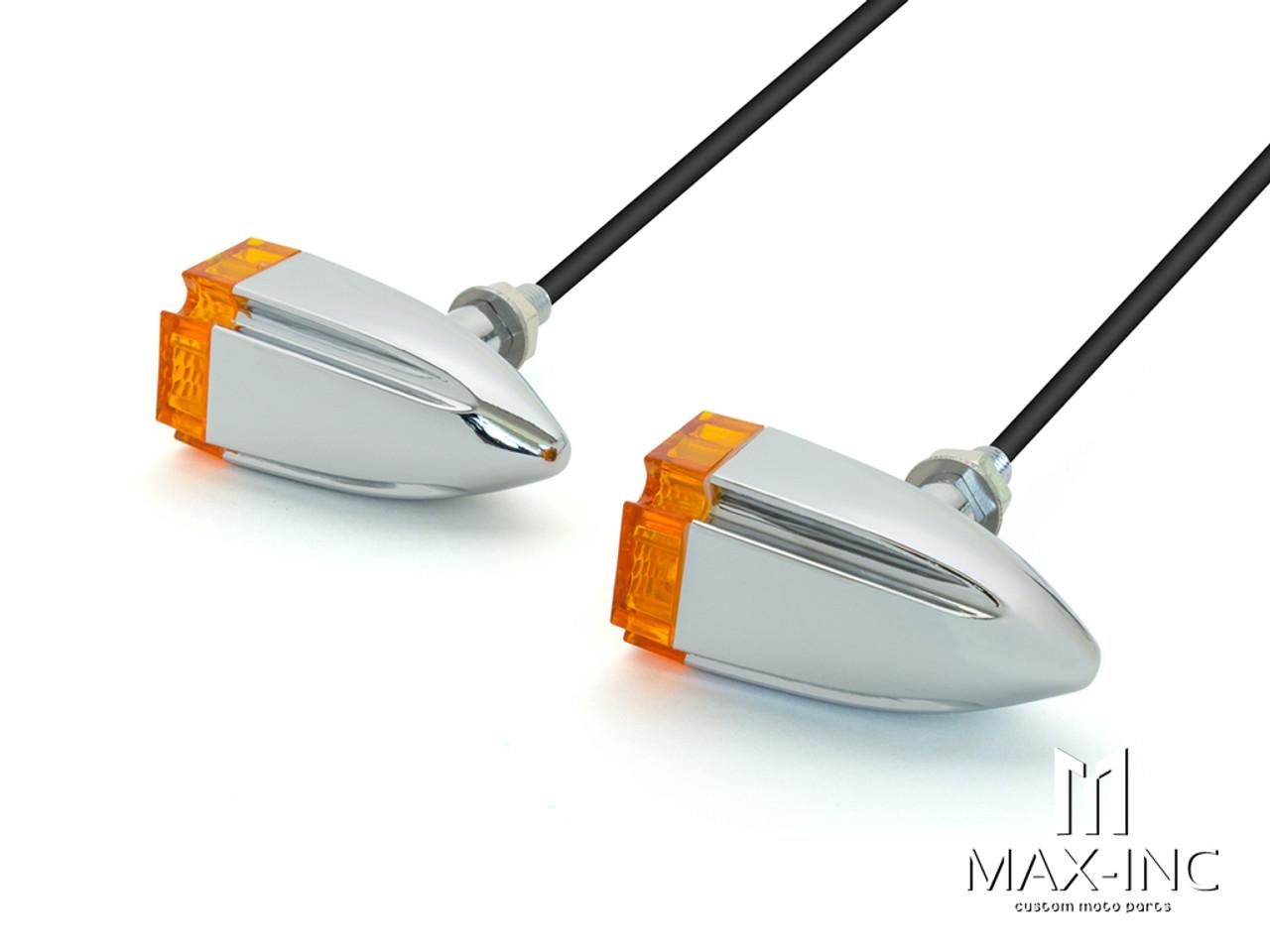Maltese Cross Chrome Alloy Custom LED Turn Signals