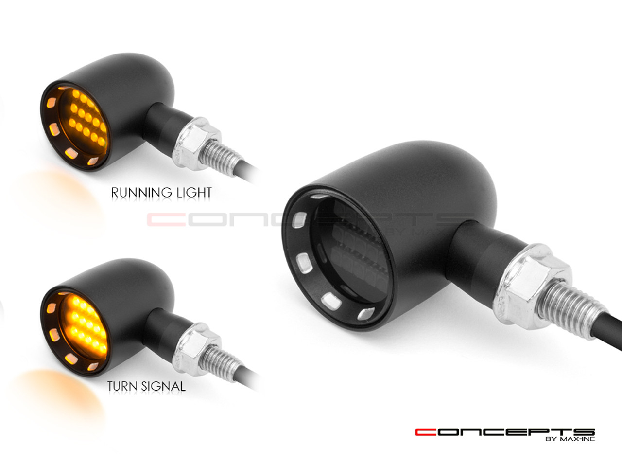"MAX ""DERBY"" Black + Contrast CNC Machined Alum Classic Mini LED Indicators / Turn Signals"