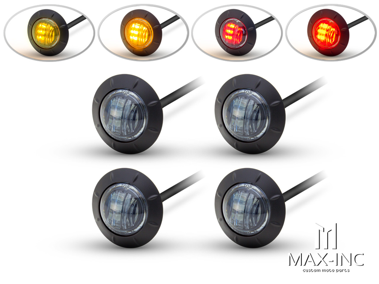 "2"" Flush Mount Smoked Lens LED Running / Turn / Tail / Stop Lights - Set Of 4"
