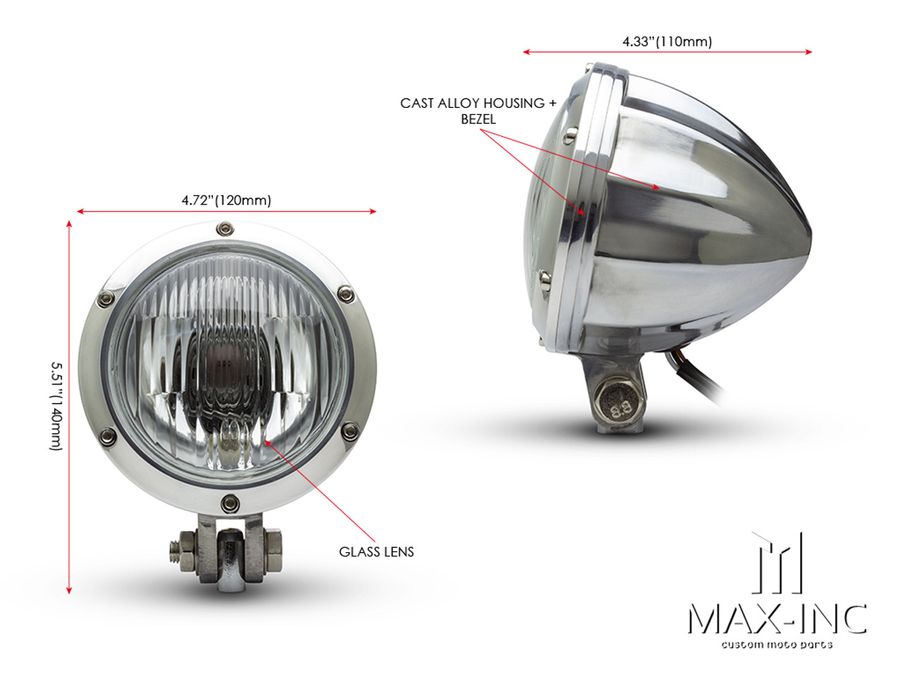 "4.75"" Polished Alloy Bobber Style Headlight - 12v / 35w"