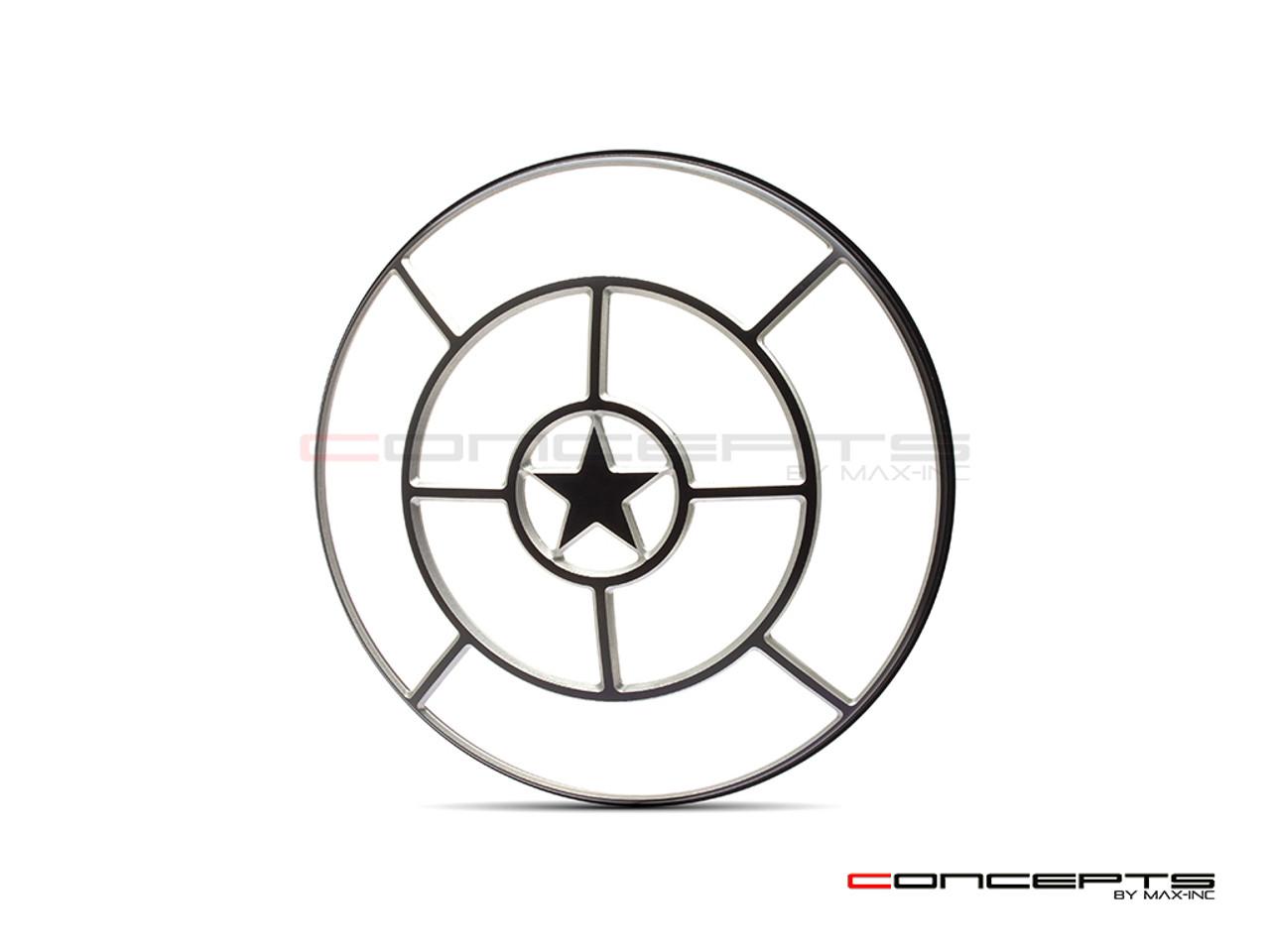 """Star Design 7"""" Black + Contrast Cut CNC Aluminum Headlight Guard Cover"""