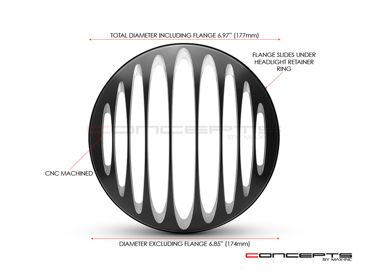"Prison Bar Design 7"" Black + Contrast Cut CNC Aluminum Headlight Guard Covers - Pair"