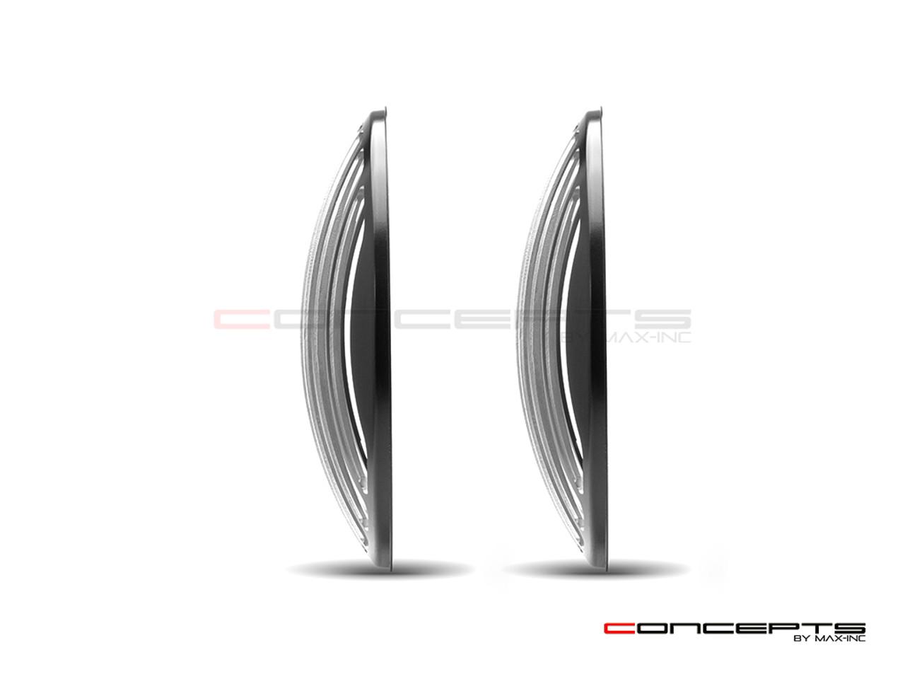 """Classic Vent Design 7"""" Black + Contrast Cut CNC Aluminum Headlight Guard Covers - Pair"""