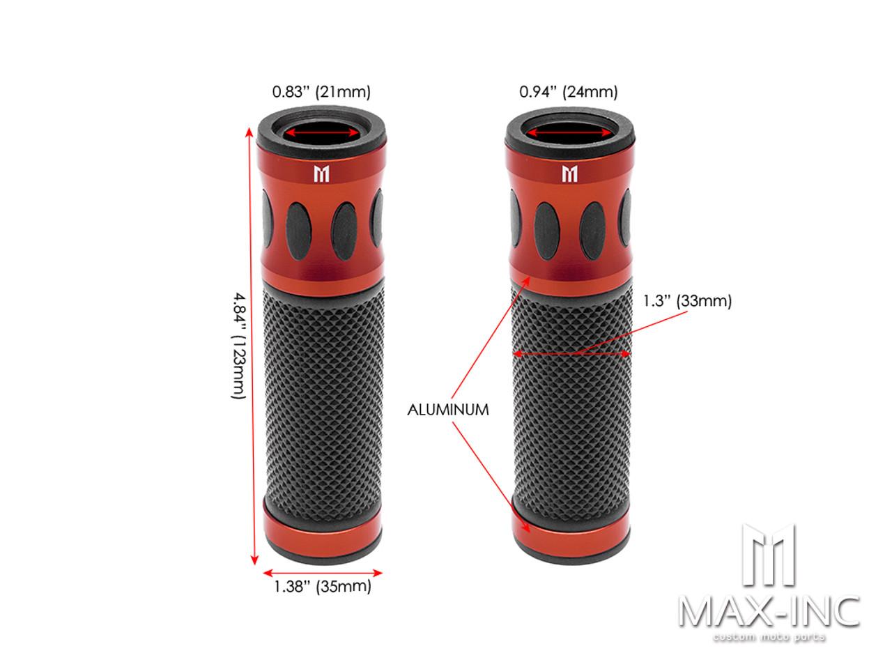 "Oval Cut Dark Orange Anodized CNC Machined Aluminum / Rubber Hand Grips - 7/8"" (22mm)"