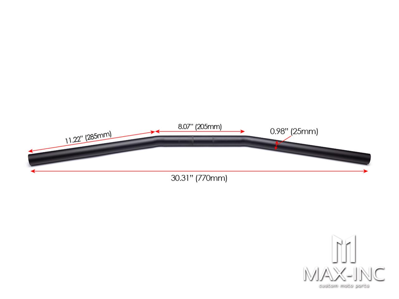 """Matte Black Alloy Cafe Racer Drag Bars - 1"""" (25mm)"""