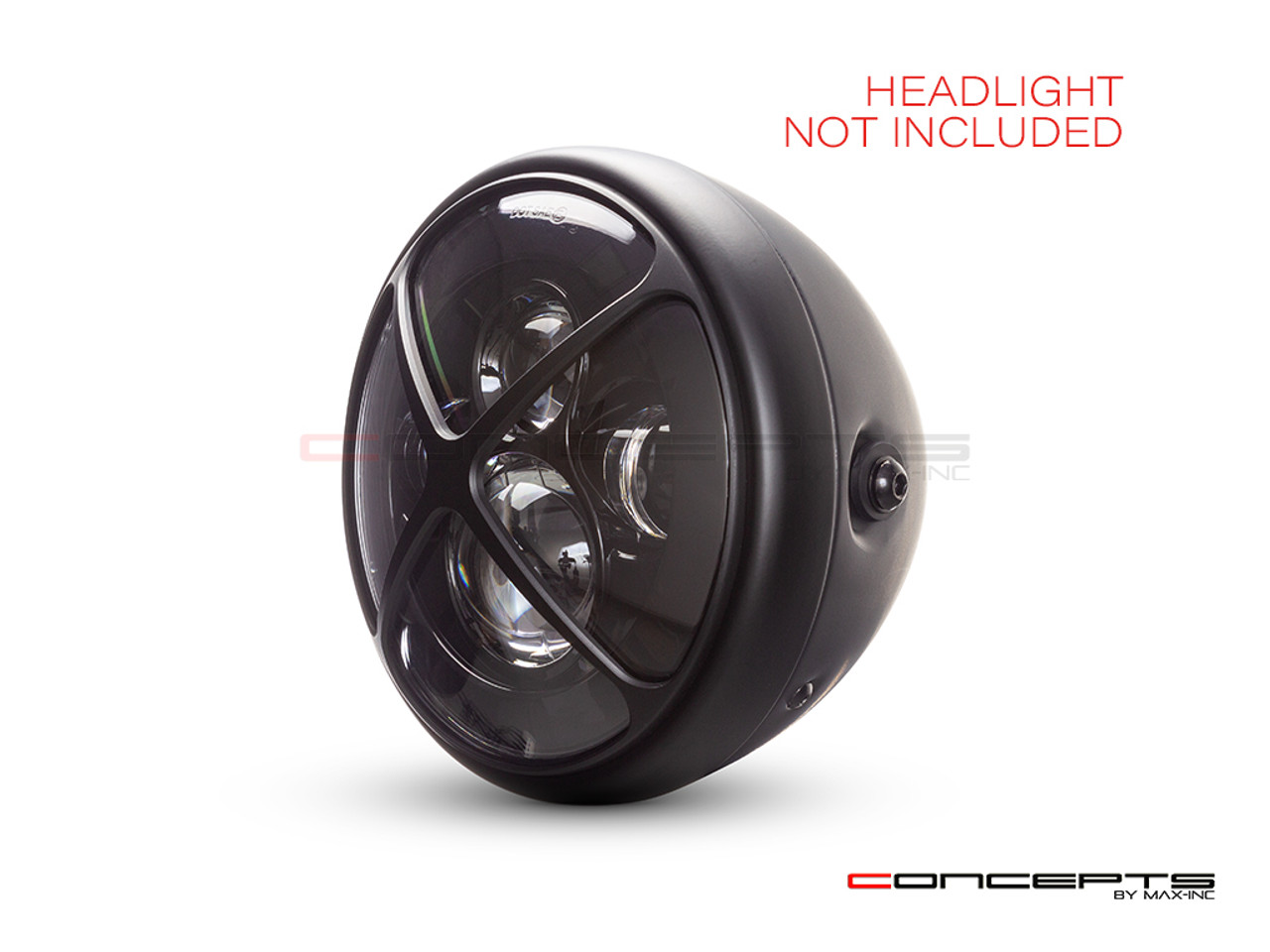 "Cross Design 7"" Black CNC Aluminum Headlight Guard Cover"