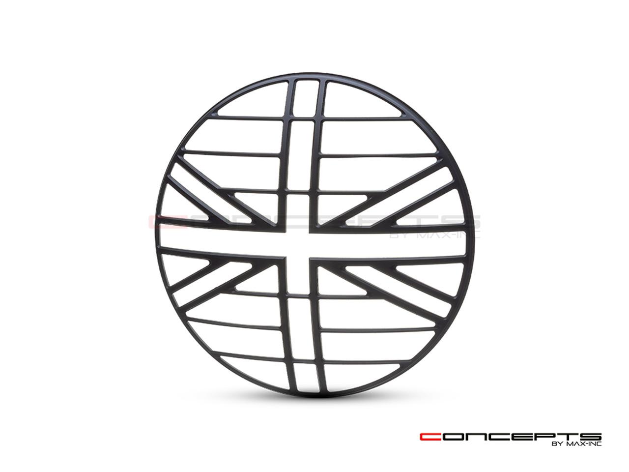 "Union Jack Grill Design 7"" Black CNC Aluminum Headlight Guard Cover"