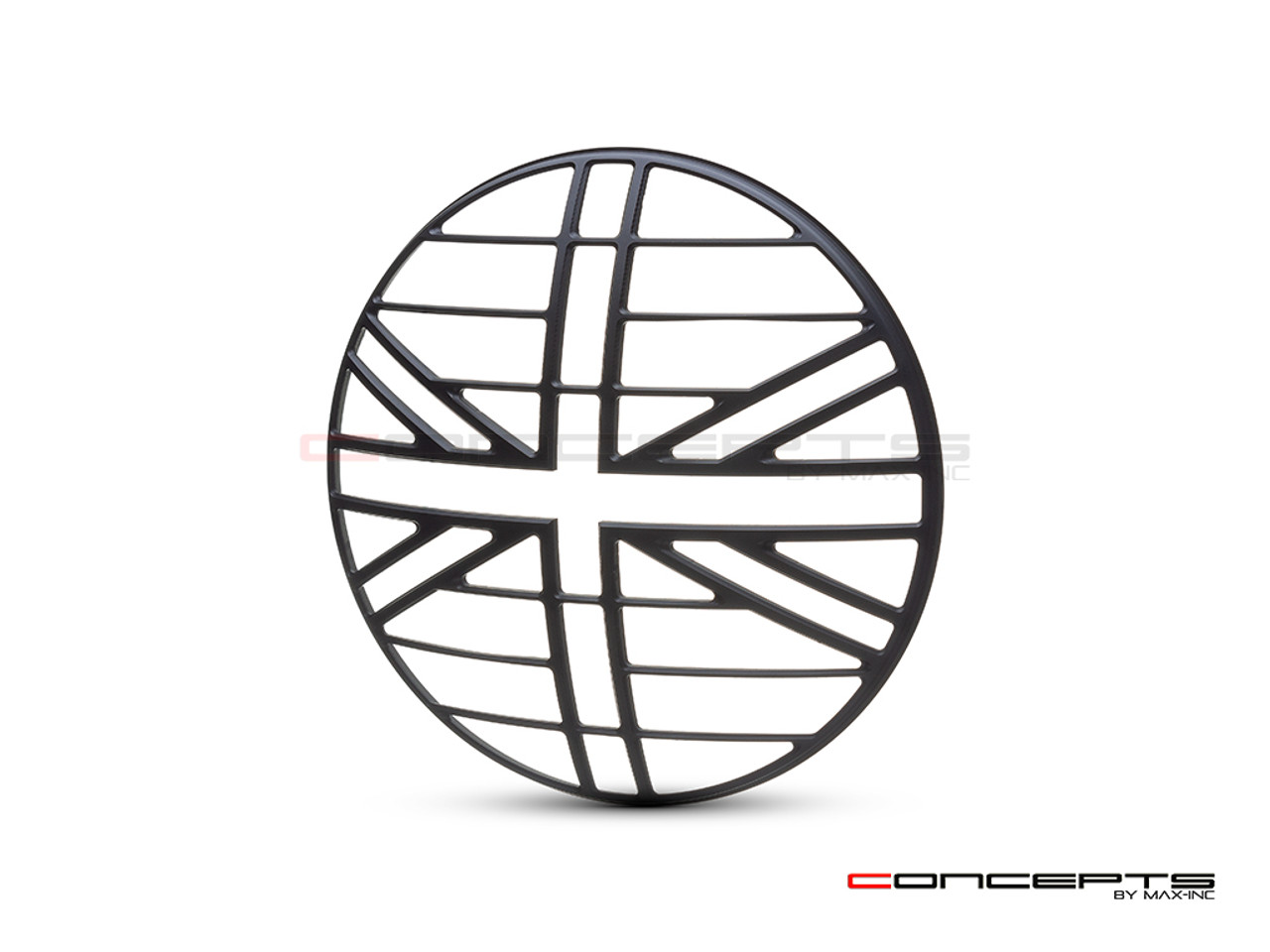 "Union Jack Grill Design 7"" Black CNC Aluminum Headlight Guard Cover"