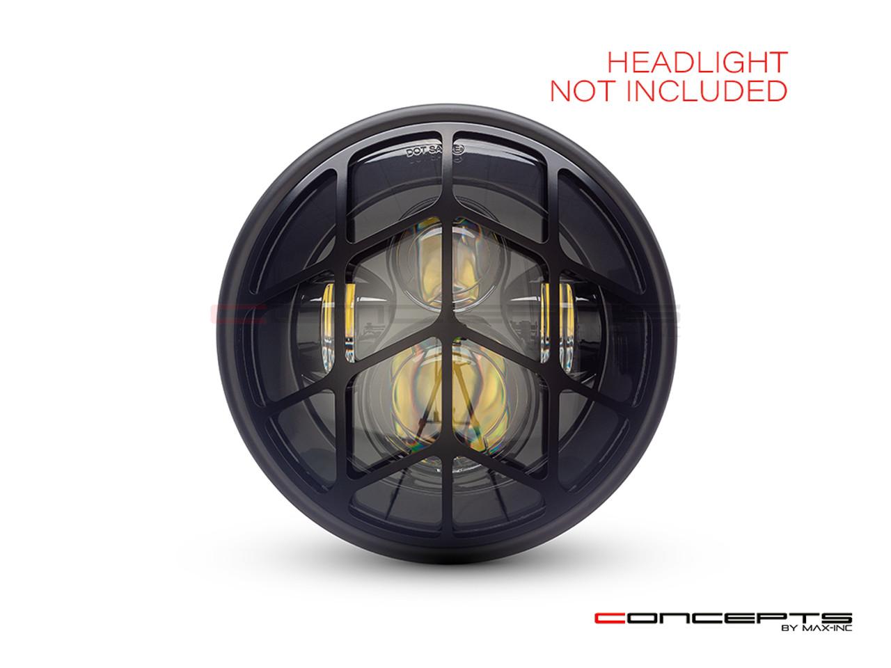"Spyder Grill Design 7"" Black CNC Aluminum Headlight Guard Cover"