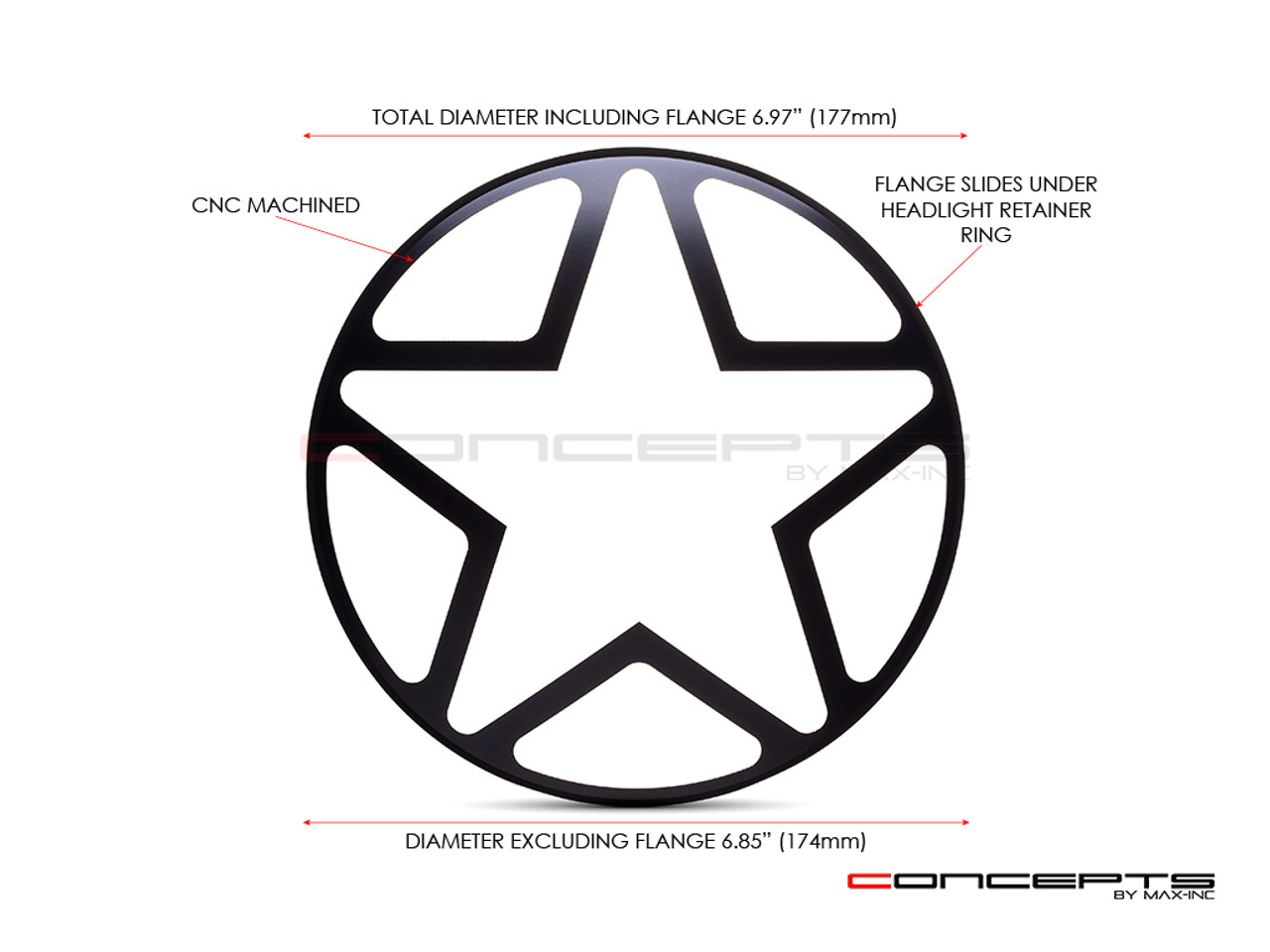 """Big Star Grill Design 7"""" Black CNC Aluminum Headlight Guard Cover"""