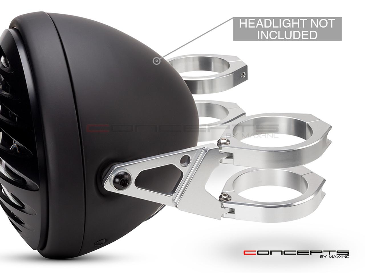 MAX Blade Polished CNC Machined Aluminum Headlight Brackets  - Fits Fork Sizes 32 - 59mm