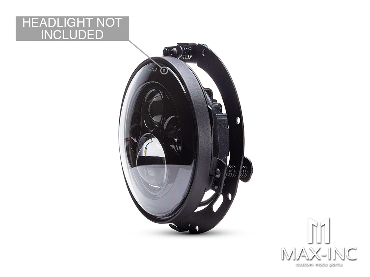 Black 7-Inch LED DayMaker Headlight Mounting Ring & Bracket for Harley Davidsons