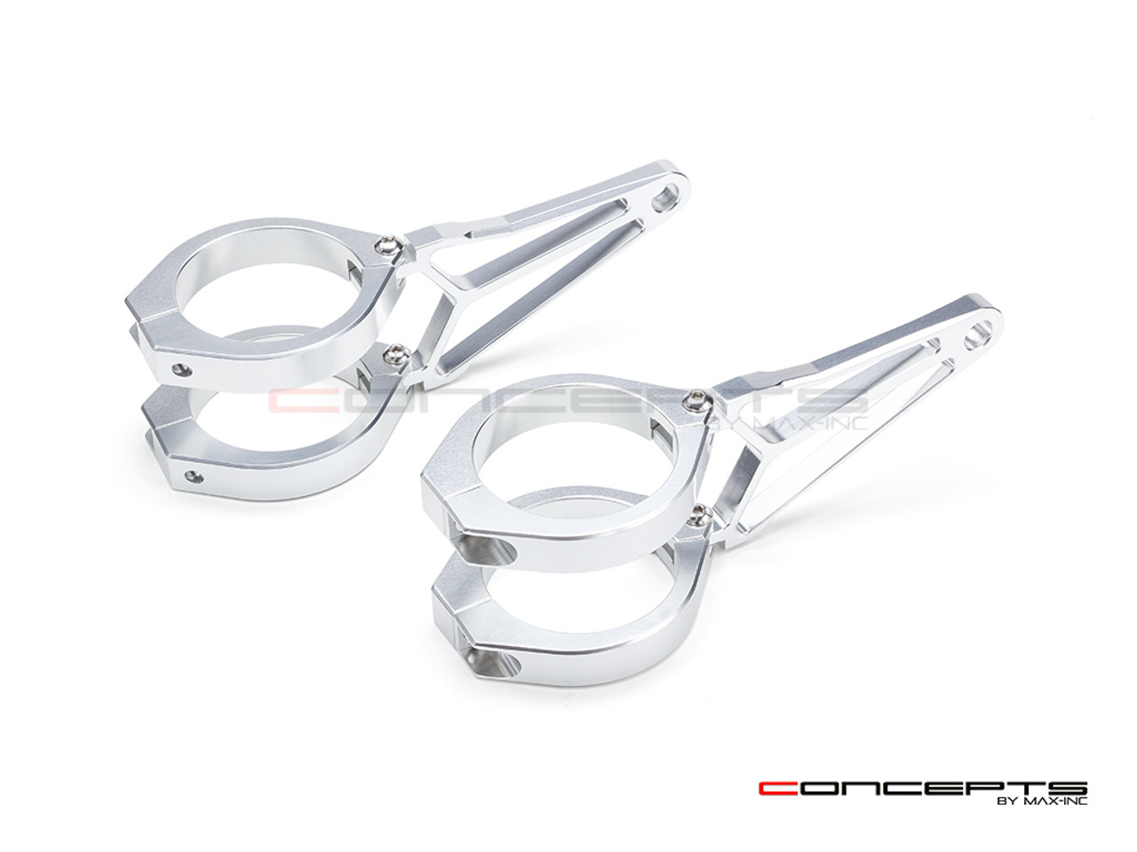 MAX Razor Polished CNC Machined Aluminum Headlight Brackets  - Fits Fork Sizes 32 - 59mm