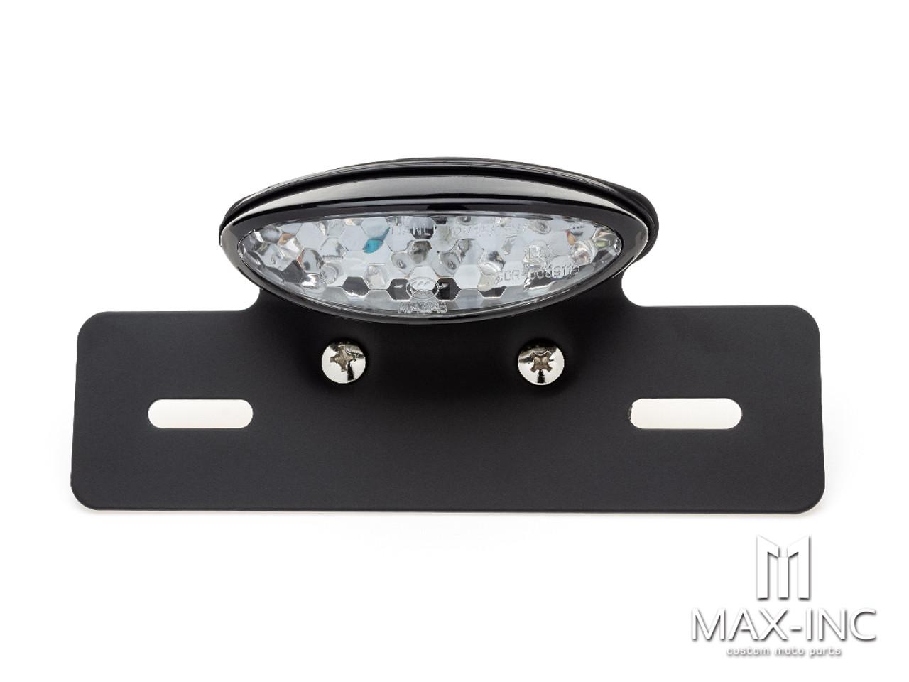 Black Oval LED Stop / Tail Light + License Plate Holder - Clear Lens