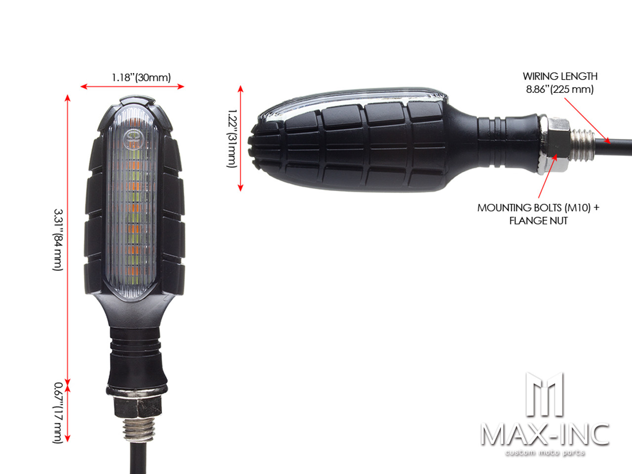 Black Grenade Integrated LED Sequential Turn Signals + Stop / Tail Lights