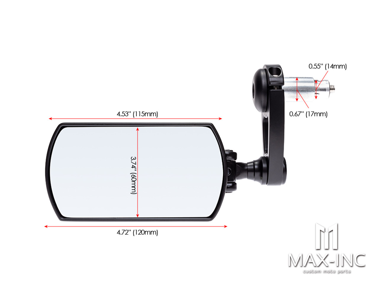"Black Alloy Universal F1 Adjustable Bar End Mirrors - Fits 7/8""(22mm) Bars & Renthal Bars"