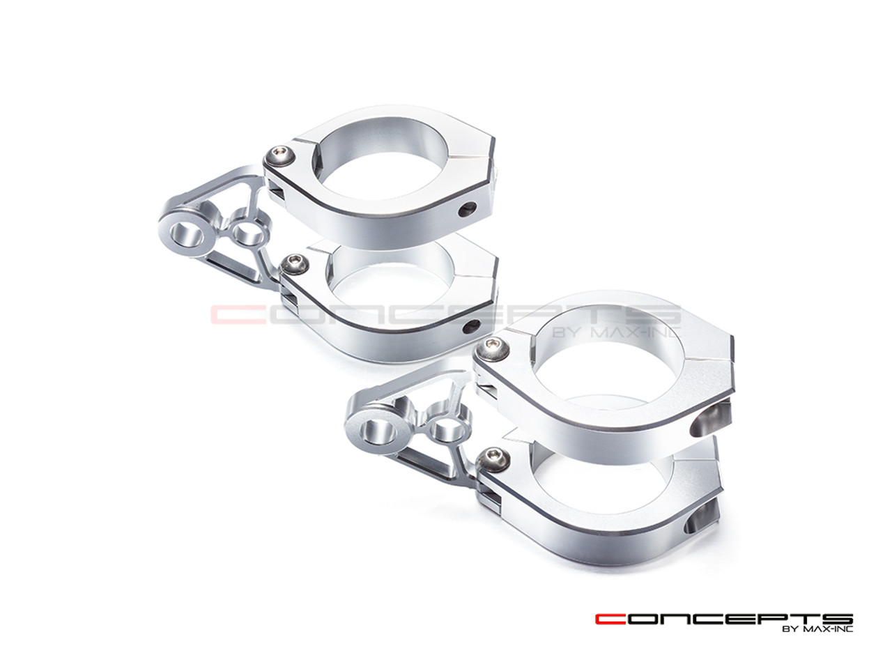MAX Corto Polished CNC Machined Headlight Brackets - Fits Fork Sizes 32 - 59mm