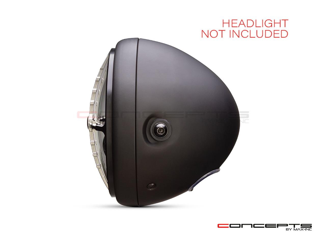 "7"" Cross Hairs Grille Design Black + Contrast CNC Aluminum Headlight Guard Cover"
