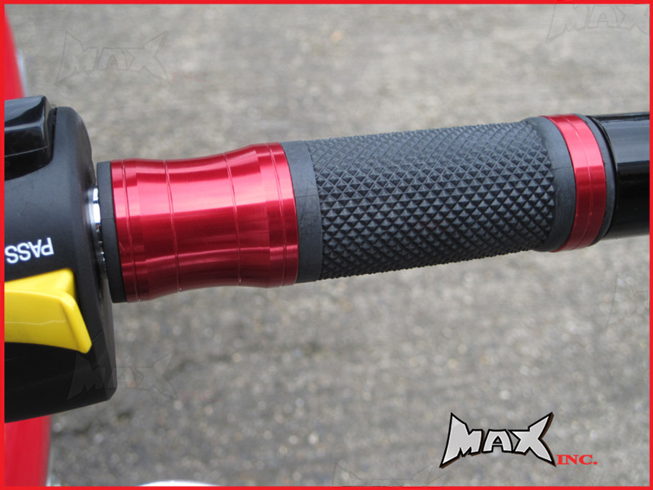 RED CNC Machined Aluminium / Rubber Grips - 7/8