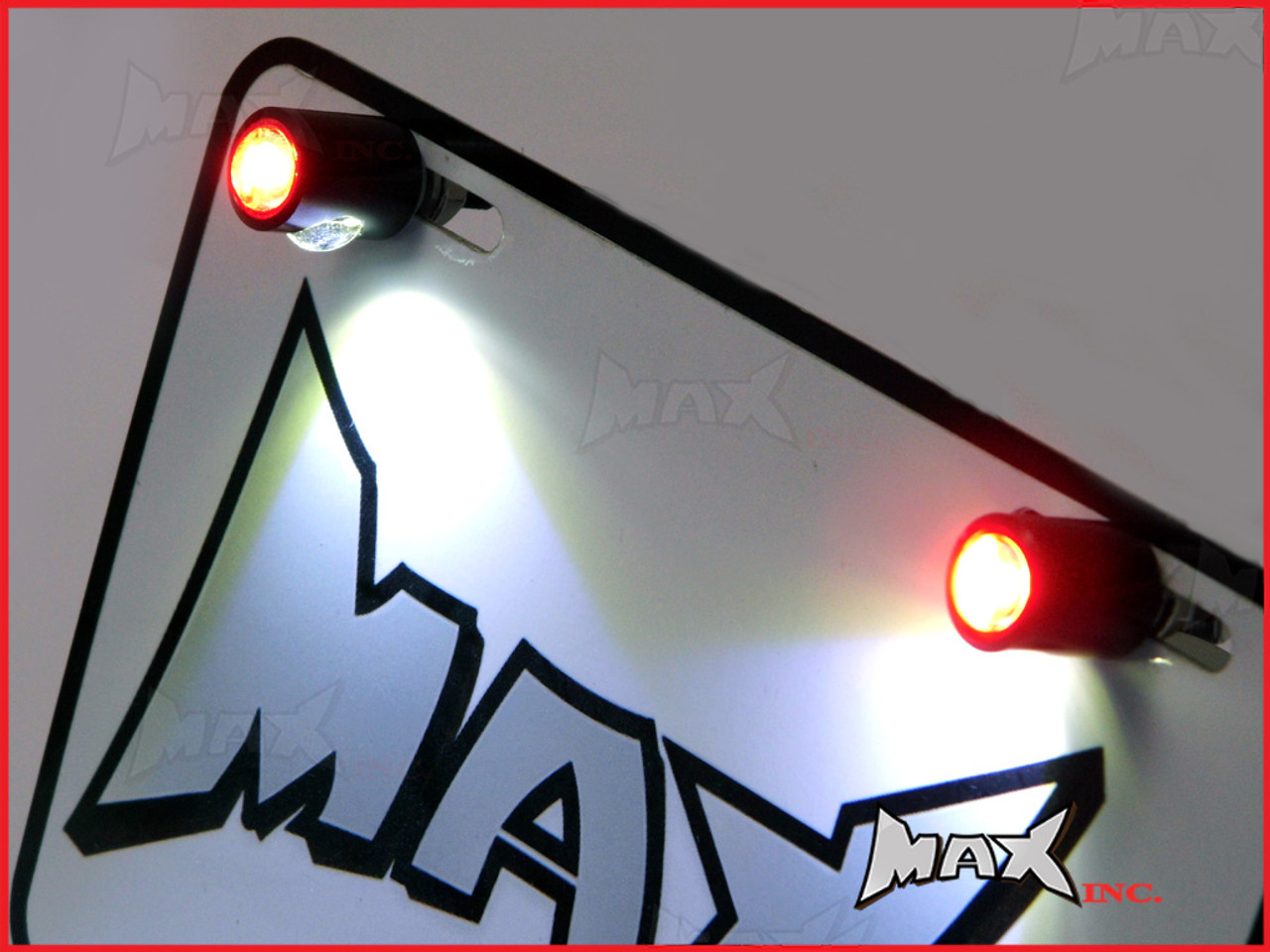 Black LED License / Number Plate Bolts with Integrated Red LED Running Lights