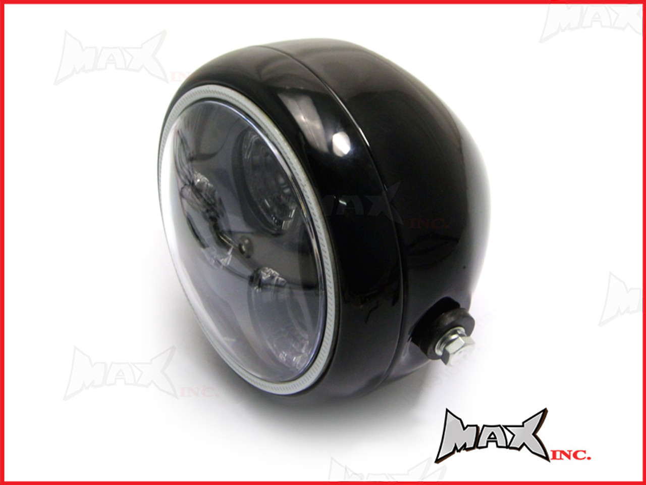 Black Metal 3 Eye LED Headlight Integrated Blue LED DRL Angel Eye