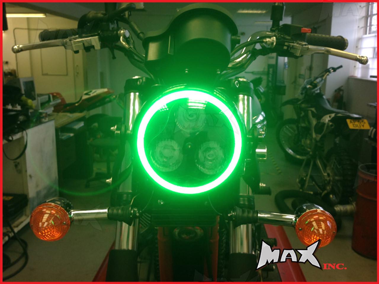 Black Metal 3 Eye LED Headlight Integrated Green LED DRL Angel Eye