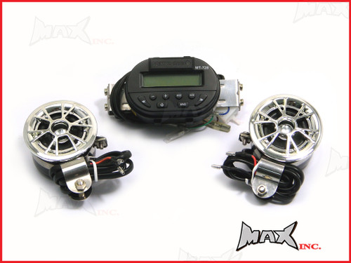 Motorcycle Universal Handlebar Mount MP3 / FM Radio & Speaker Set