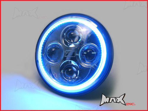 7 INCH High Quality Quad Projector LED Headlight + Blue Halo - Fits Harley Davidson & Jeep