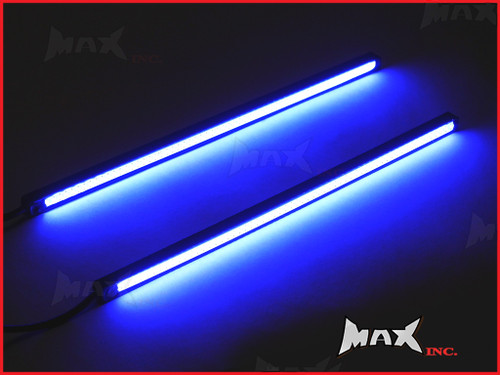 8 Inch Universal Slim COB LED Blue Daytime Running LIghts - Black Aluminium Housing