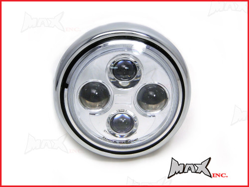 7.7 INCH High Quality Quad Projector LED Chrome Metal Headlight