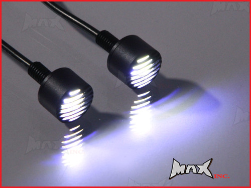 Black Micro Billet Aluminium 6mm Grill Bolts - White Integrated LED DRL Marker Lights
