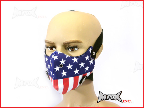 American Flag Bikers Face Mask - PU Leather