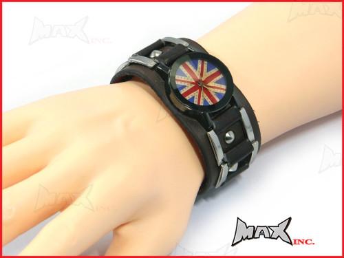 Union Jack Bikers Quartz Watch + Brown Wristband - PU Leather