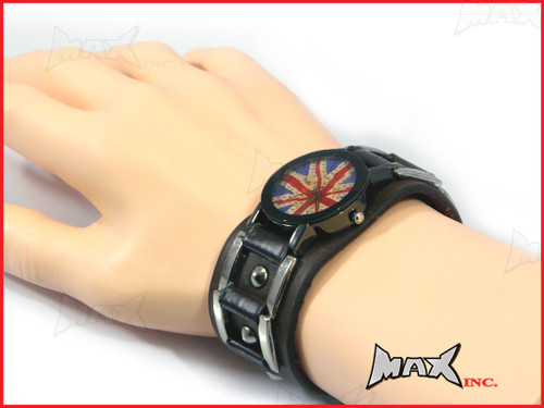 Union Jack Bikers Quartz Watch + Brown Wristband - PU Leather