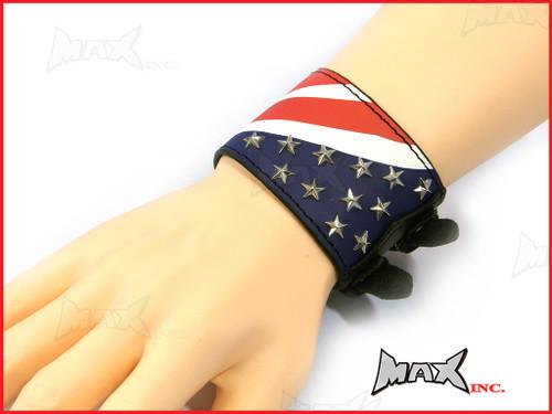 American Flag Bikers Black Wristband - PU Leather