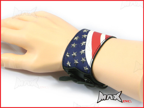 American Flag Bikers Black Wristband - PU Leather